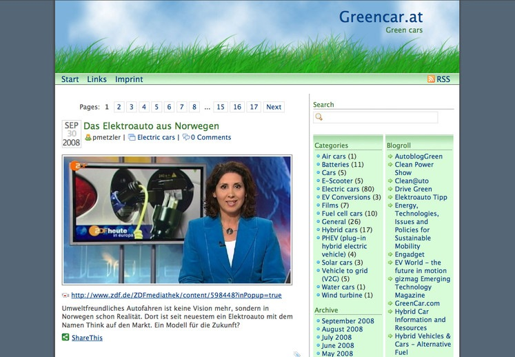 Greencar.at Blog mit Wordpress